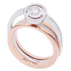 Marie Mas Reversible Swiveling Diamond Engagement Ring and Wedding Band
