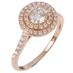 18 Carat Rose Gold 1.00 Carat Diamond Halo Dress Ring