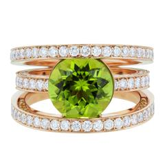3.60 Carat Round Peridot with 196 Round White Diamonds Three-Band Ring