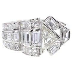 Art Deco Fancy Diamond Cluster Platinum Cocktail Ring