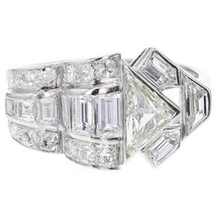 Art Deco Fancy Diamond Cluster Platinum Cocktail Ring