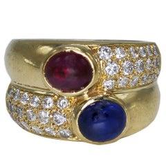 Bulgari Sapphire Pink Tourmaline Diamond Yellow Gold Ring