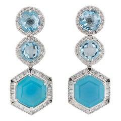White Gold Diamond and Topaz Earrings