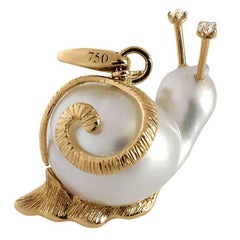 Snail White Diamond Australian Pearl Gold Pendant and Charm