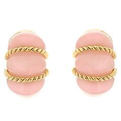Rose Quartz Gold Shrimp Earrings