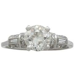 1940s 1.09 Carat Diamond and Platinum Solitaire Ring