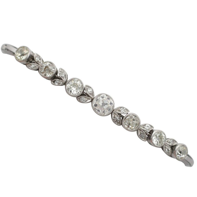 1930s 3.20 Carat Diamond and White Gold, Platinum Bracelet For Sale