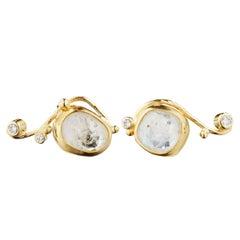 Bergsoe Rough Sapphire Diamond Gold Earrings