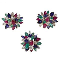 Luise Gold Diamond Ruby Emerald Sapphire Set