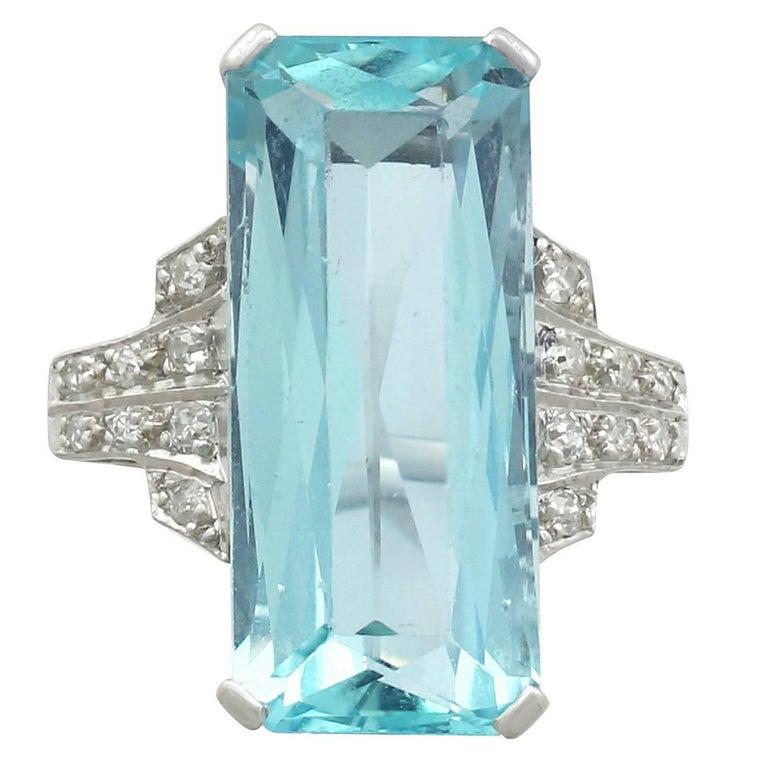 1930s Art Deco 11.25 Carat Aquamarine and Diamond Platinum Cocktail Ring
