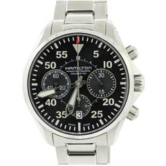 Hamilton Stainless Steel Aviation Pilot Chronograph Khaki Automatic Wristwatch