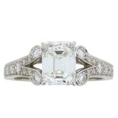 Cartier 'Paved Ballerine' 1.51 Carat Emerald Cut Diamond Engagement Ring