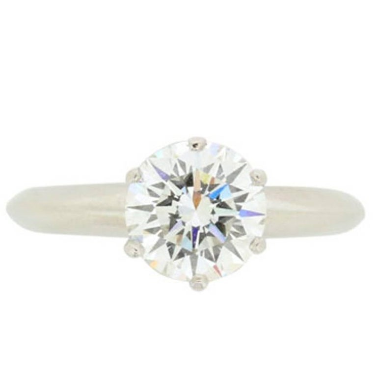 GIA 1.24 Carat Tiffany & Co. Round Brilliant Cut Diamond Solitaire Ring