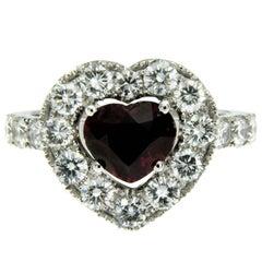2.01 Carat Heart Ruby Diamond Gold Ring