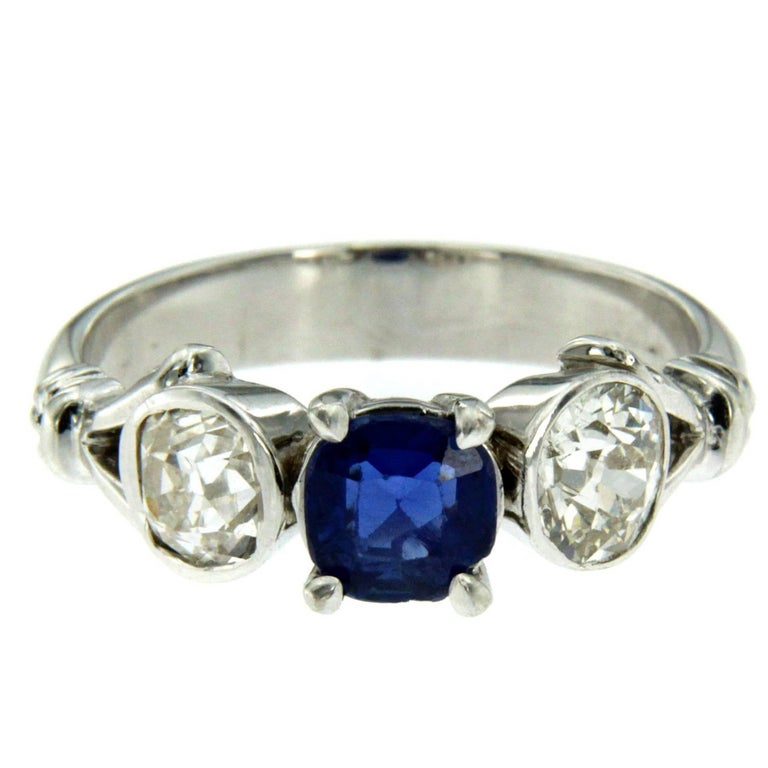 Estate Sapphire Diamond Gold Three-Stone Ring