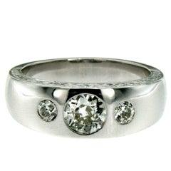 Art Deco Diamond Gold Band Ring