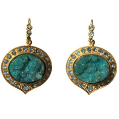 Lauren Harper Chrysocolla Druzy, Aquamarine, Gold Drop Earrings
