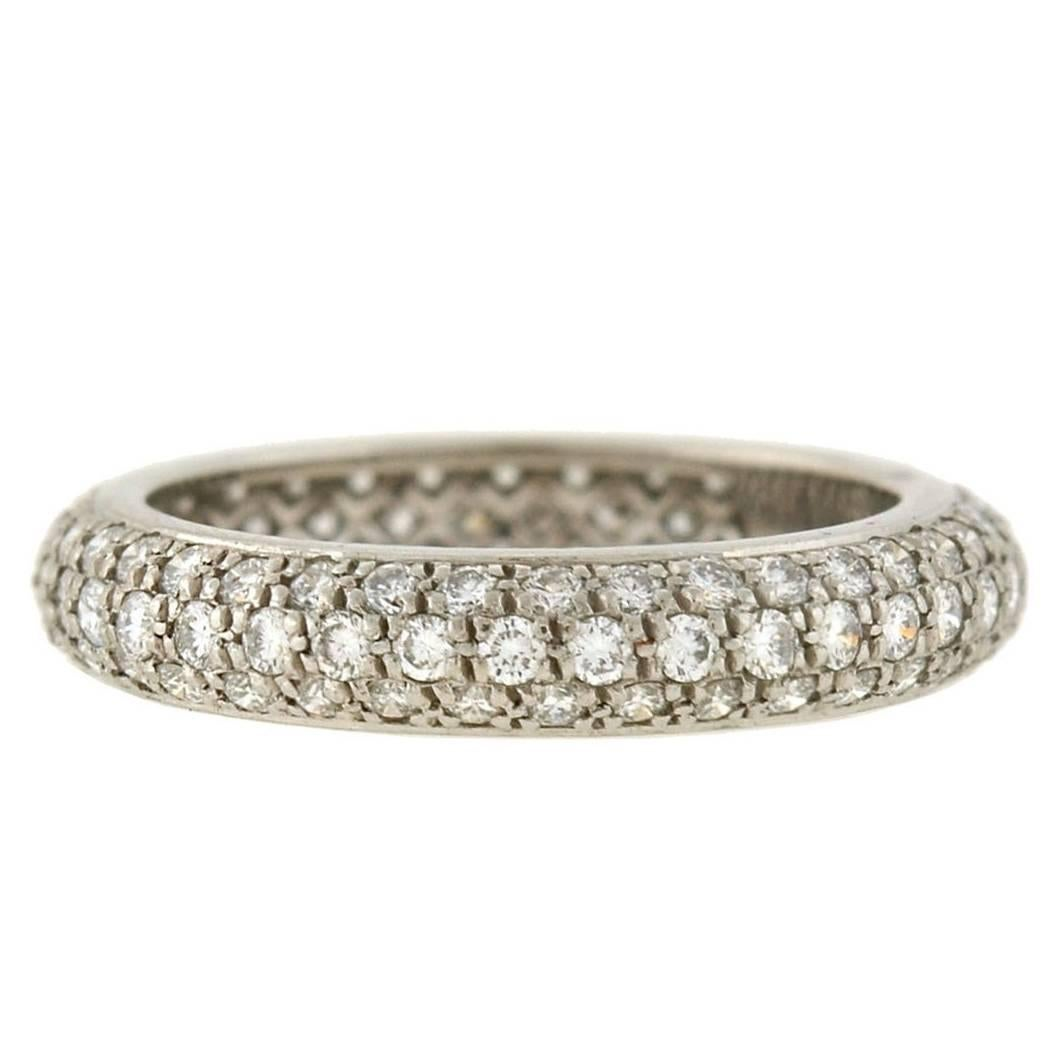 Cartier French 1.50 Carats Pavé Diamond Eternity Band For Sale
