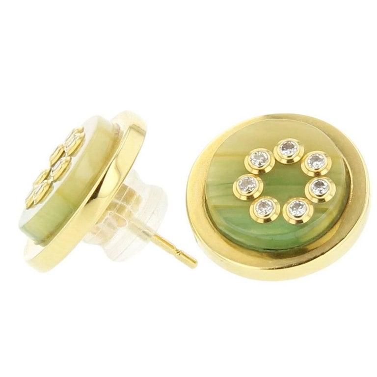 Mark Davis Bakelite Diamond Yellow Gold Stud Earrings For Sale