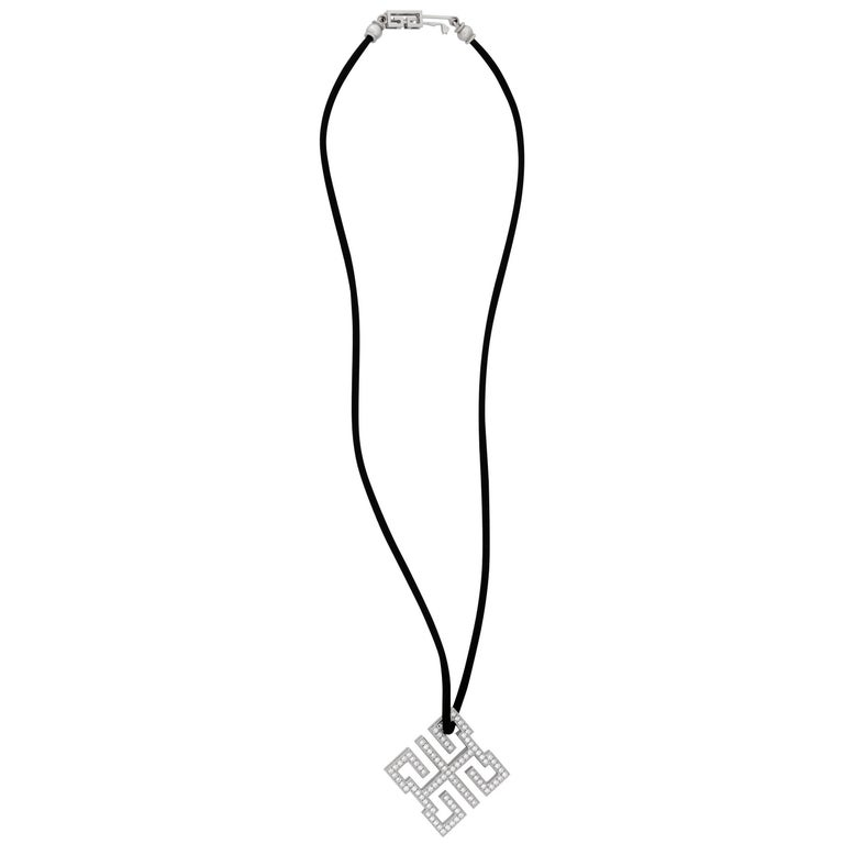 Cartier Le Baiser Du Dragon 18 Karat White Gold Diamond Ruby Necklace