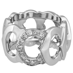 Cartier 18K White Gold Diamond C Ring Size: 5.5