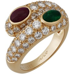Cartier 18K Yellow Gold Emerald, Ruby and Diamond Bypass Ring Size: 6