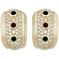 Dior  Diamond Sapphire Ruby and Emerald Earrings