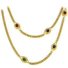 Fred Paris Emerald Sapphire Ruby Diamond Yellow Gold Necklace