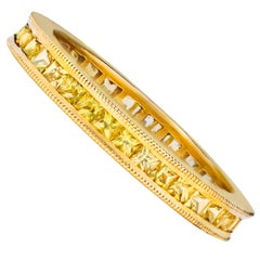 1.43 Carat Yellow Sapphire Eternity Wedding Band Ring