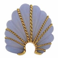 Seaman Schepps Gold Chalcedony Shell Motif Large Brooch