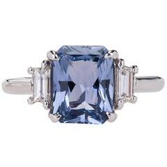 Peter Suchy 2.56 Carat Sapphire Diamond Platinum Three-Stone Engagement Ring