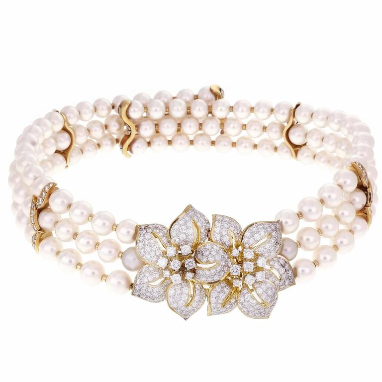 Three-Row Cultured Pearl Diamond Gold Collar Choker Necklace For Sale