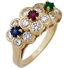 Van Cleef & Arpels Emerald Ruby and Sapphire Yellow Gold Ring