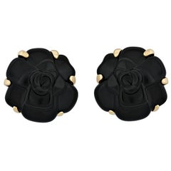 Chanel Camellia Onyx Yellow Gold Earrings