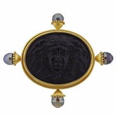 Elizabeth Locke Large Gold Pearl Brooch Pin