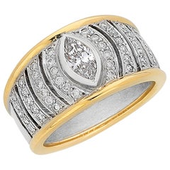 Marquise Diamond Two-Tone Gold Dress Ring 'Gatsby' Range