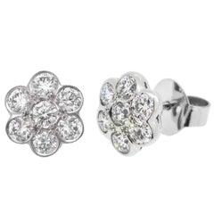 18ct White Gold 1.74ct Diamond Daisy Earrings