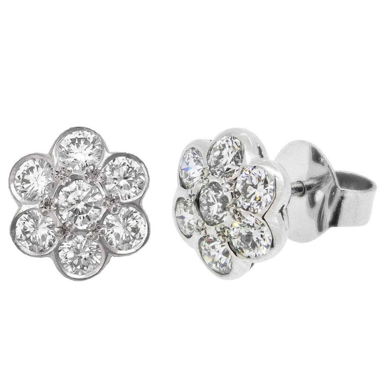 18ct White Gold 1 74ct Diamond Daisy Earrings For