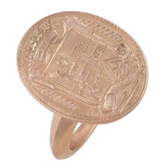 1780s French Gold Engraved Crest Signet Ring