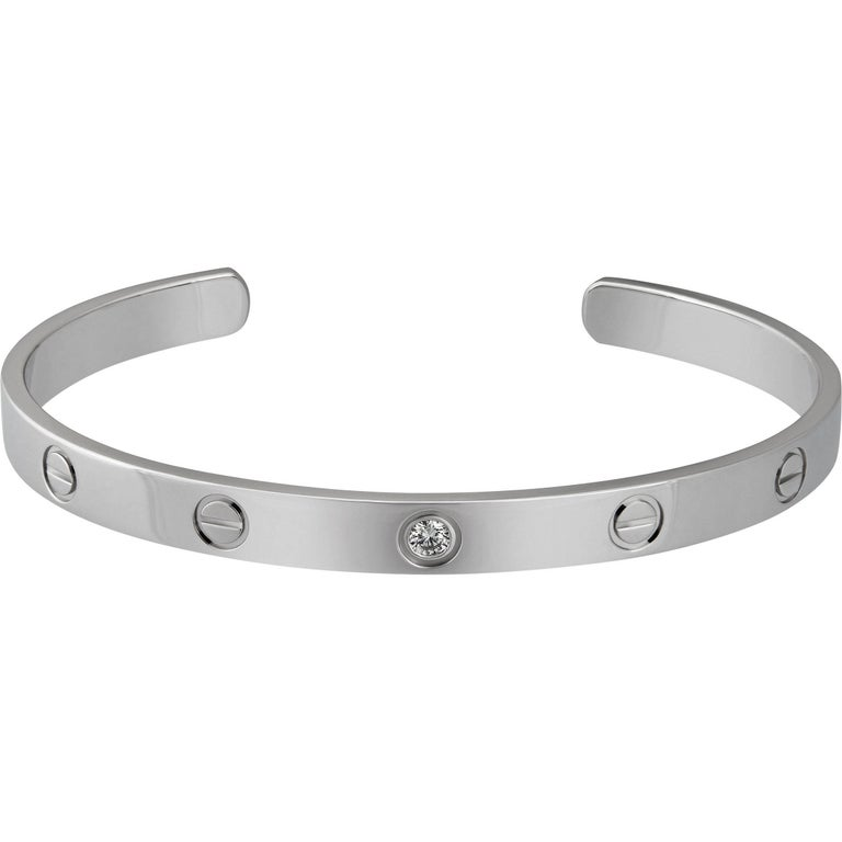 Cartier 18 Karat White Gold 1 Diamond Love Bracelet For Sale