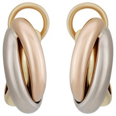 Cartier Trinity Yellow White and Rose Gold Earrings