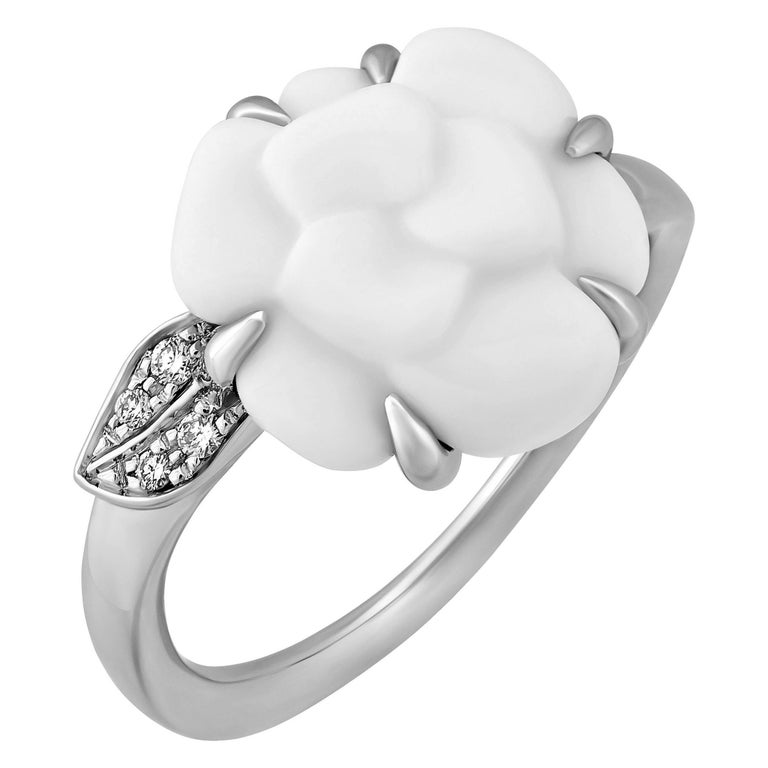 Chanel 18 Karat White Gold Agate Camellia Diamond Ring