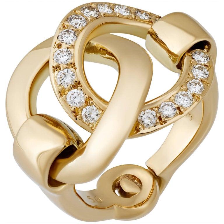 Hermes Diamond Gold Ring