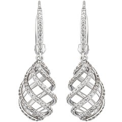 Tiffany & Co. 18 Karat White Gold Luce Drop Diamond Earrings