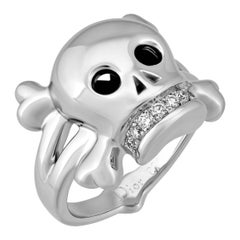 Christian Dior White Gold Diamond Tete de Mort Skull Cocktail Ring