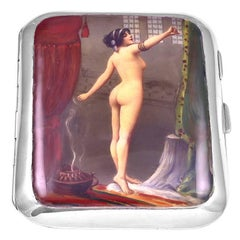 Antique Sterling Silver and Enamel Nude Case