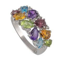 Diamond and Multi-Gemstone Ring