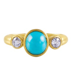 Natural Cabochon Turquoise Diamond Three-Stone Ring