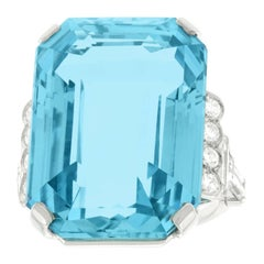 Incredible 40 Carat Aquamarine and Diamond-Set Platinum Ring