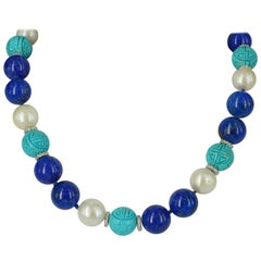 Decadent Jewels Lapis Lazuli Pearl and Carved Turquoise Silver Necklace